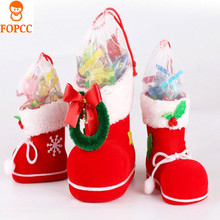 3 Styles Christmas Santa Boot Shoes Stocking Kids Child Candy Gift Holder Bags Xmas Tree Decoration The Best Gift for Children