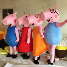 High quality Adult Peppa Pink Pig Cartoon Character Mascot Costume 6 Color Halloween Costume for Women