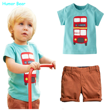 Humor Bear 2016 baby boys clothes set boys Cartoon T shirt + pant 2 Pcs Set Casual kids Set Childrens clothes(China)