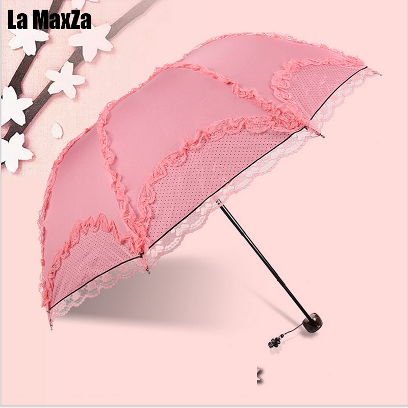 Lace Princess Black Plastic Umbrella Sunscreen UV Protection Umbrella Elegant Fashion(China)