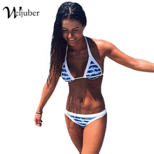 Buy Push Swimwear Female 2016 New Stripe Halter Top Bra Bikinis Sexy Bandage Bandage Swimsuits Bathing Suit Women Bikini Set