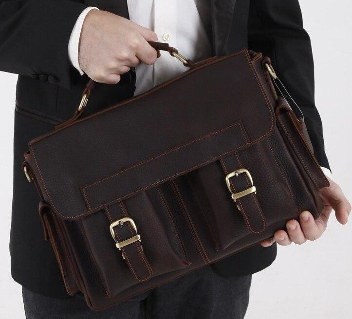 Vintage Genuine Leather Men Shoulder Bag Messenger Bag Men leather Briefcase tote office Handbag male crossbody bag Brown M037#<br><br>Aliexpress