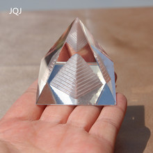 JQJ Energy Healing Egypt Egyptian Crystal Glass Pyramid Clear Rare Feng Shui Crystals Craft ornaments for Home Decor