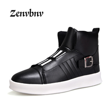 Buy ZENVBNV 2018 New Luxury Mens Casual Shoes Flat shoes Autumn Comfortable Hip Hop High Top Flat Shoes PU Leather Shoes Size:39-44 for $28.25 in AliExpress store