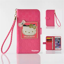 Fashion Women Girl Lanyard Hello Kitty Flip Wallet Stand Leather Case For apple iphone6 6s plus With 6 Card Holders Cover