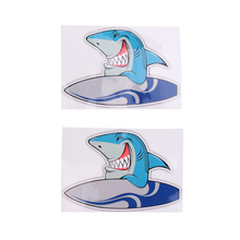 New 2 Pieces Vinyl Surf Shark Stickers Decals for Kayak Canoe Dinghy Yatch Laptop Helmet Graphics Window Door Car Decor Gift