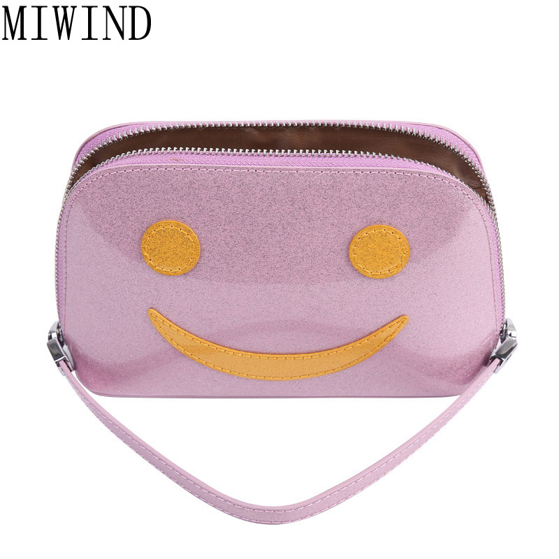 MIWIND Smile Face Cosmetic Bag Pu Leather Makeup Make Up Bags Waterproof Small Travel Porable Makeup Handbag Pouch Wash TCF070<br>