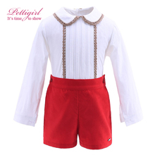 Pettigirl New Autumn Red Boy Clothing Set With Lace Hem Collar Boutique Kids Clothing Christmas Outfit B-DMCS908-890