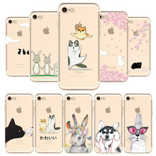 Cute Cat Rabbit Husky Phone Case For iPhone 7 7Plus 6 6s 6P 6SPlus 5 5s SE Soft TPU Black Cats Glasses Rabbit Husky Phone Cover