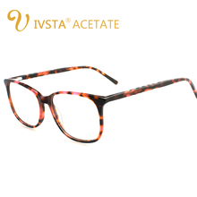 IVSTA Big Glasses Women Acetate Optical Frame Handcrafted Solid Eye Oversized Demi Cellulose Solid Transparent Nose Pad Square(China)