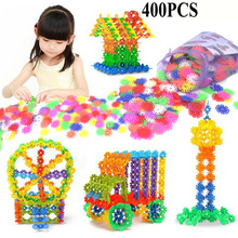 With Instructions 400 Pcs 3D Puzzle Jigsaw Plastic Snowflake Building Blocks Building Model Puzzle Educational Toys For Kids(China)