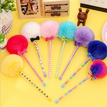 Hot sale student stationery 7 Colors.fun creative retro Plush Ball design gel pen.student tool school office use office school s