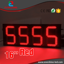 traffic message sign 16 inch red single color digital outdoor LED screen/display gas station price display(China)