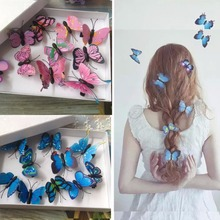 5pcs Butterfly Hair Clips Girls Women Hairclip Bridal Hair Accessories for Wedding Photography Costume 6colors(China)