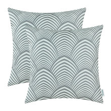 2Pcs CaliTime Gray Stripes Leaves Pillows Shell Cushion Cover Home Sofa Decoration 45cmX45cm