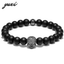 YUXI Steampunk Zircon Skull Bracelet Men Jewelry Punk Rhinestone Skeleton Wrap Bracelet Male Hand Accessories Pulsera Hombre
