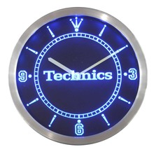 nc0434 Technics Turntables DJ Music Neon Sign LED Wall Clock