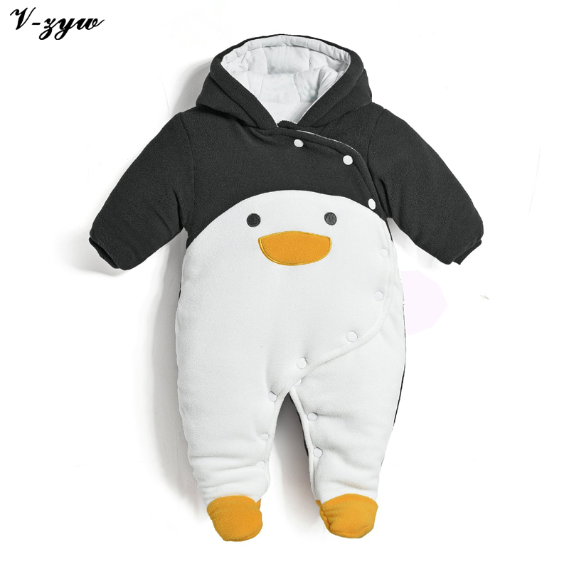 New 2017 Autumn Winter Warm Baby Rompers Newborns Boy Clothes Bebes Cartoon Penguin Thick Cotton Jumpsuits Infant Overalls<br>