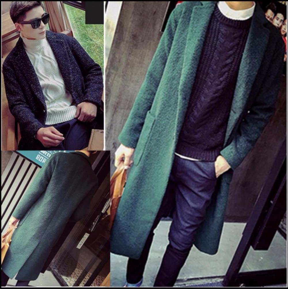 Autumn Winter New Men's fashion Lengthen trench overcoat winter long slim wool overcoat over-the-knee long coats Windbreaker