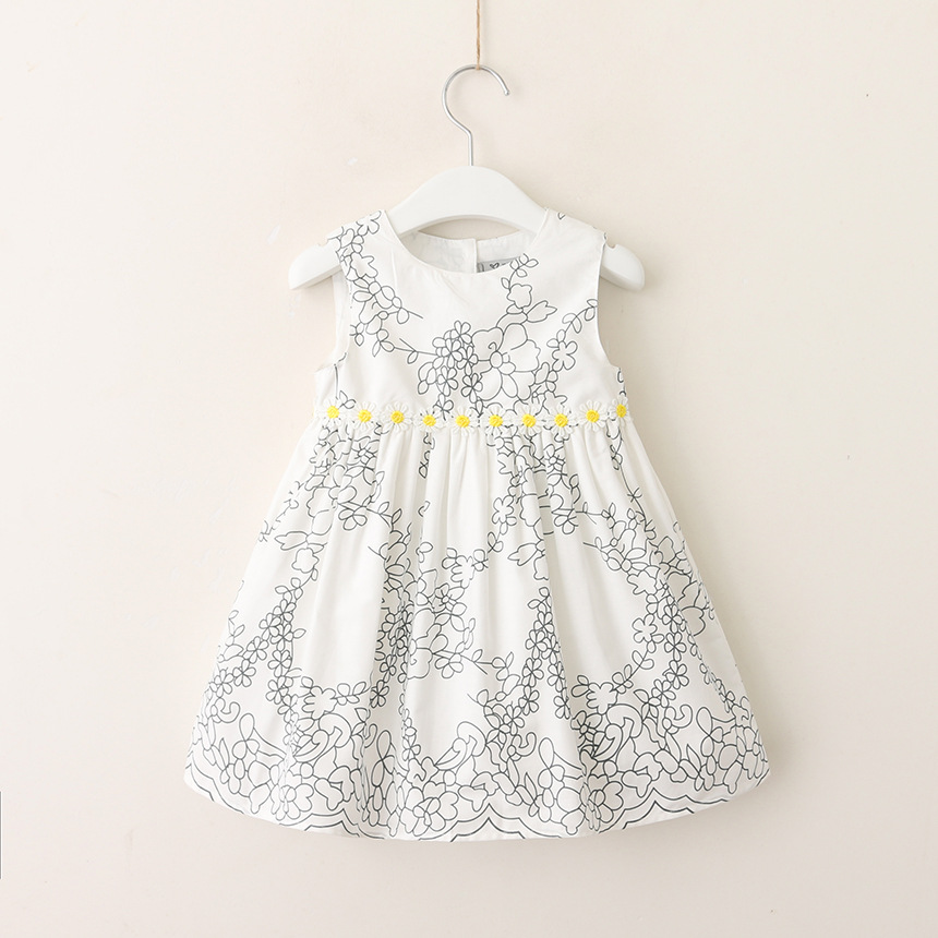 Kids Floral Dresses For Girl Summer White Princess Dress Sleeveless Children Cotton Casual Dress 2018 Kids Wholesale Clothes