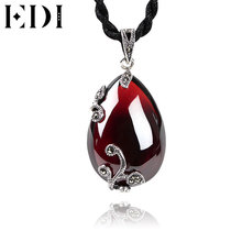 EDI Red Garnet Silver 925 Pendants Necklace Women Flower Shape Unique Fashion Gemstone Bijoux(China)