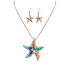 New Fashion trend High Quality Gold & Silver Plated Beads Multicolor Starfish  Design Woman's charm Necklace Set Wedding Jewelry