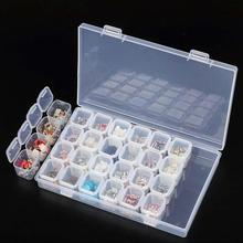 28 Slots Rhinestone Nail Art Tools Clear Bathroom Container Jewelry Storage Beads Removable Box Case Organizer Holder(China)