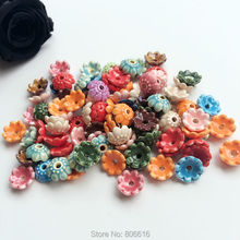 10MM 100Pcs Handmade Flower China Ceramic Porcelain Bead Caps Jewelry Findings Accessories(China)