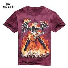 YK UNCLE Brand 3D Flame Skull Fallen Angel Play Guitar Printed T-shirt Male Short Sleeve Fashion Clothes Design T shirt Tee Tops