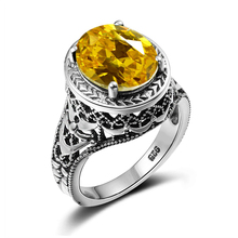 Luxury Brand Women Bulgaria Ring Bohemia Created Yellow Crystal Big Rings Vintage Solid Silver 925 Jewelry Wholesale Cheap Good