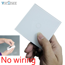 Original VHOME Smart Home universal 433MHZ ev1527 3V Glass panel wall Switch shape remote control+EU/UK Wall Light Touch Switch