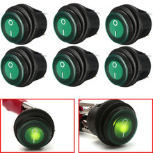 6pc OLS 12V DC 25A On/Off Rocker Switch IP65 Waterproof 3P SPST LED illuminated Green Hot Salling(China)