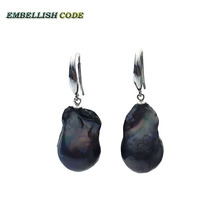 special big size black color baroque Irregular stely hook earring flame ball shape natural freshwater pearl 925 silver for women(China)