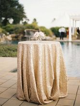 72'' Round Champagne Sequin Tablecloth,wholesale Wedding Beautiful Sequin Table Cloth / Overlay /Cover