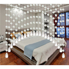 1 x Crystal Bead String Acrylic Stainless Steel Wire Curtain Room Divider Crystal Beads Door Window Panel Wedding Curtain(China)