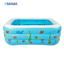 120cm Kid Baby's Cartoon Underwater World Pattern Printed Inflatable Aerated Square Newborn's Swimming Pool High Quality(China)