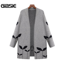GIBSIE Plus Size Women Clothing 5XL Long Cardigan Autumn Winter Warm Sweater Womens Casual Korean Long Sleeve Open Stitch Coat(China)