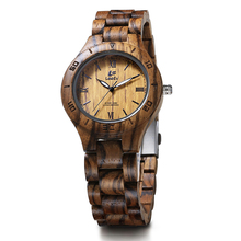 LeeEv EV1986 Womens Luxury Natural Zebra Sandal Wood Watch Quartz Light Weight Vintage Wooden Wrist Watch(China)