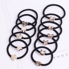 Cheap New Fashion Korean Women Hair Accessories Cute Black Elastic Hair Bands Girl Hairband Hair Rope Gum Rubber Band Love Gift