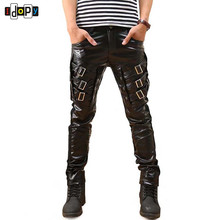 New Arrival Mens Korean Gothic Punk Fashion Faux Leather Pants PU Buckles Hip Hop Applique Black   Leather Trousers Male
