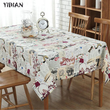 YIDIAN Europe Christmas Tablecloth Rectangular Linen Table Cover Tower Splicing Pattern Table Cloth Fabric Party Wedding Decor