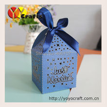 elegant candy wedding box sea blue laser cut paper chocolate packaging boxes