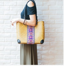 2017The new seaweed weaving package Thai version of the women 's shoulder bag woven retro ancient rattan grass woven bag