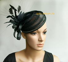 NEW BLACK Sinamay mini hat feather fascinator for races,wedding and party.FREE SHIPPING