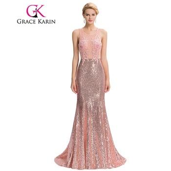 Grace karin lujo sirena vestidos de noche suelo longitud del vestido backless elegante rosa largo vestidos de noche de lentejuelas de encaje robe de soirée 2017