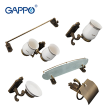 Gappo 6PC/Set Bathroom Accessories Soap Dish,Double Toothbrush Holder,Paper Holder,Towel Bar,Glass shelf Bath Hardware SetsG36T6