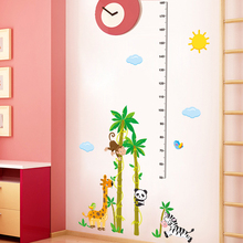 % Cute animal giraffe monkey panda growth record Height stickers wall stickers kids rooms bedroom gift waterproof for Chrismas(China)