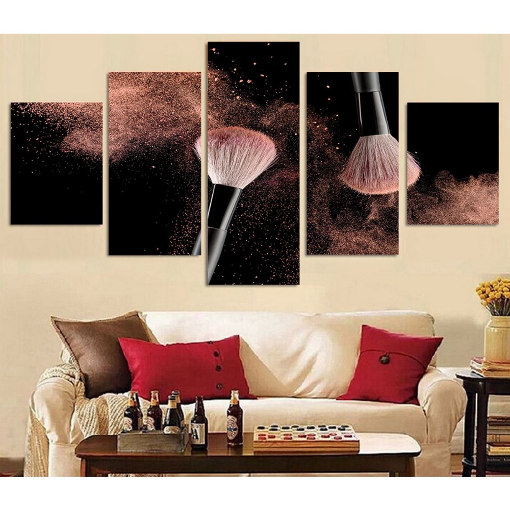 5 Panels HD Prints On Canvas Group Pictures Blush Brush Wall Poster Pictures Modern Home Decorative Oil Painting Modular Artwork(China)
