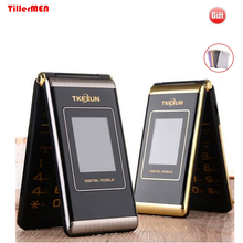 TKEXUN M1 touch screen Double dual Screen Dual SIM Card MP3 MP4 FM vibrate senior mobile phone for old people(China)