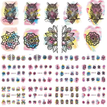 12 Designs Owl/Flower Watercolor Nail Stickers Beauty Nail Art Temporarily Watermark Nail Tips Decals DIY LABN433-444